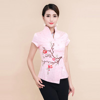 High Quality Summer Cotton Chinese Style Women Tang Suit Tops Blouse Vintage Traditional Chinese Shirt M