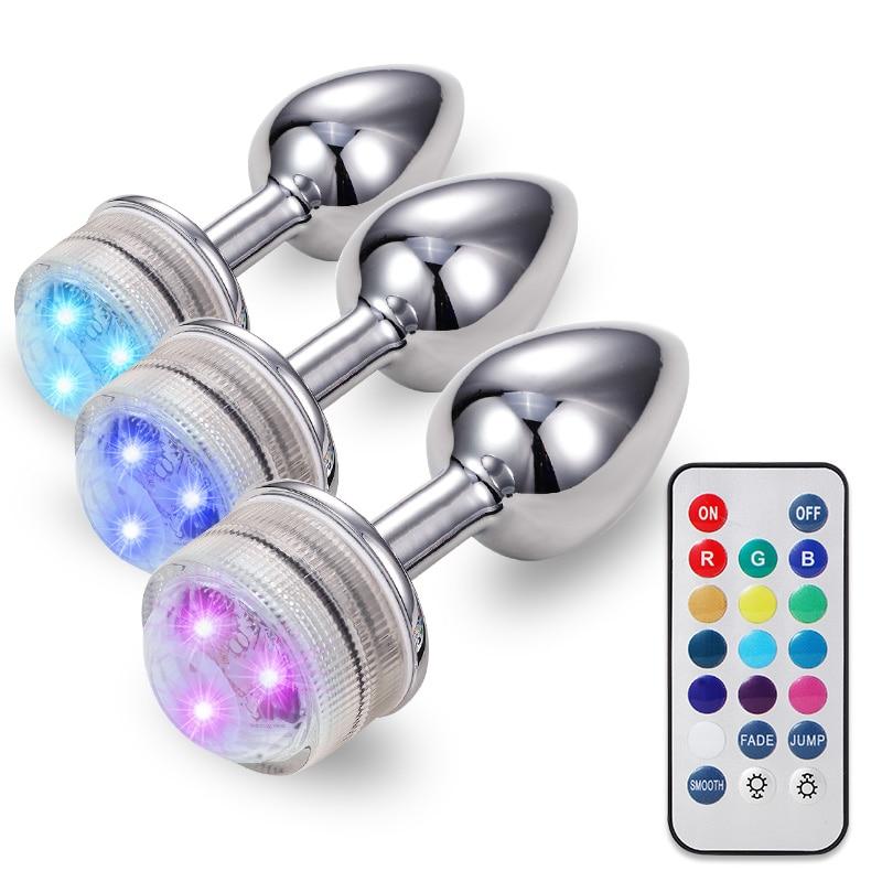 LED Colorful Light Metal Anal Plug NO Vibrator Masturbator For  Adult Game Anal Dildo Erotic Toys Intimate Goods Vagina Massager