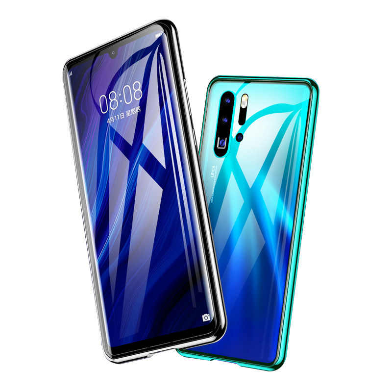 Tempered Glass Magnetic Case Front+Back Double Side Full Body For Huawei P30 P20 Mate 10 20 Pro Honor Luxury Metal Bumper Case