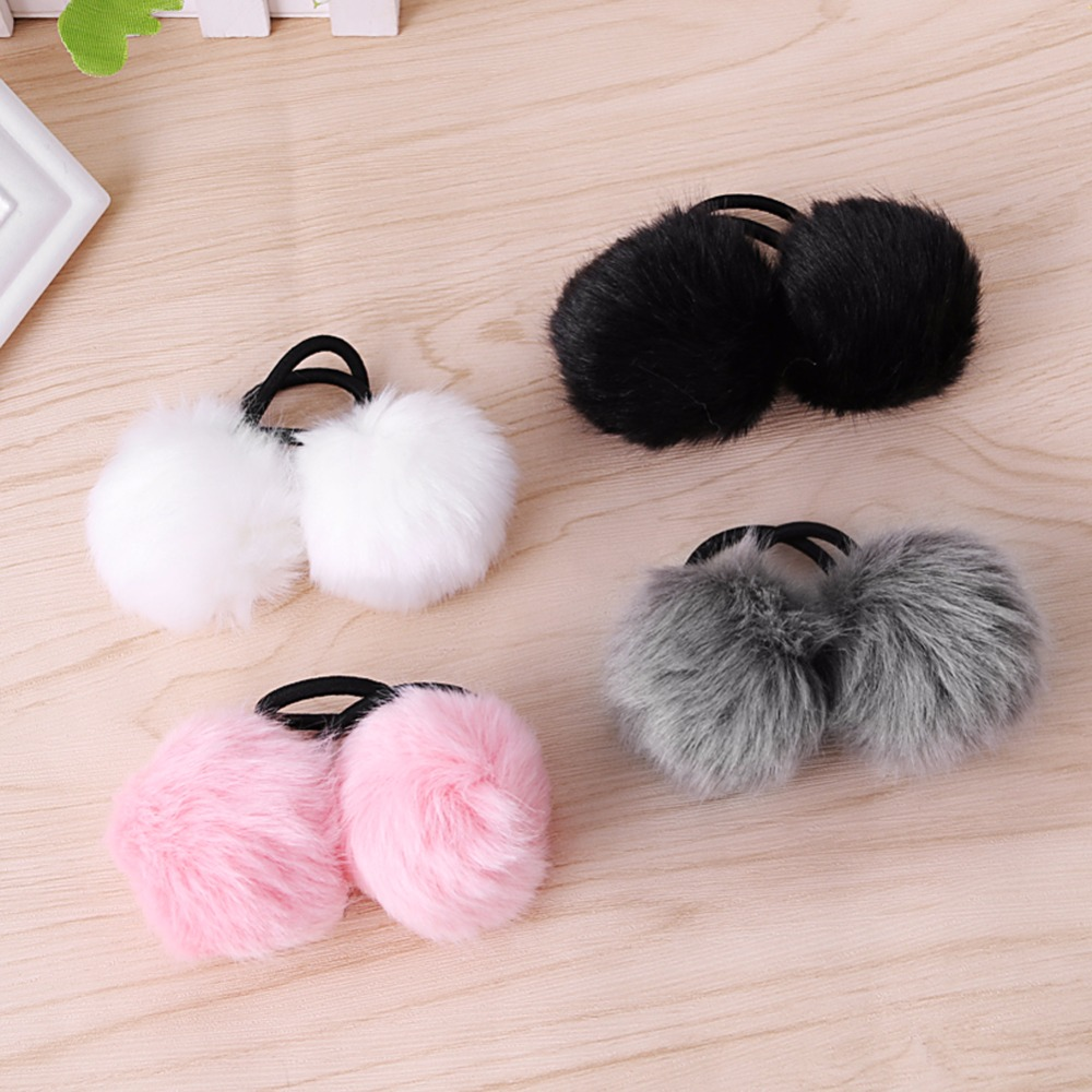 Trendy Faux Rabbit Fur Pompom Ball Hair Ring Scrunchie Elastic Ponytail Holder Hair Band gorgeous faux feather elastic hair band for women