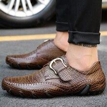 купить Plus size 45/46/47 Men's shoes made of genuine leather Buckle Mens dress shoes Crocodile pattern Formal shoes man дешево