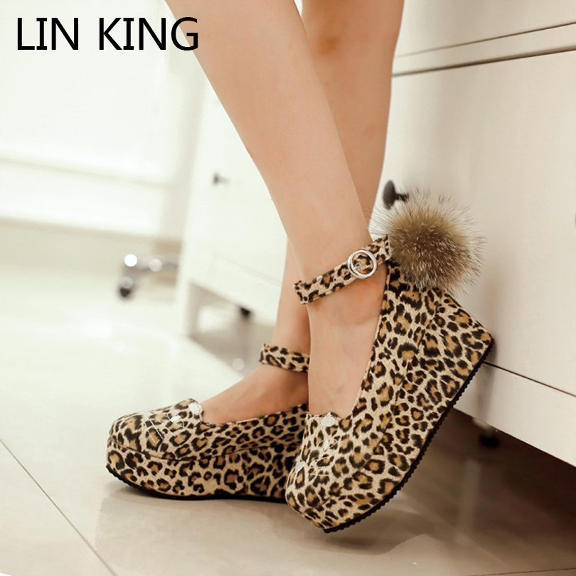 LIN KING Wedges Heel Women Pumps Ankle Strap Pom Pom Cosplay Party ...