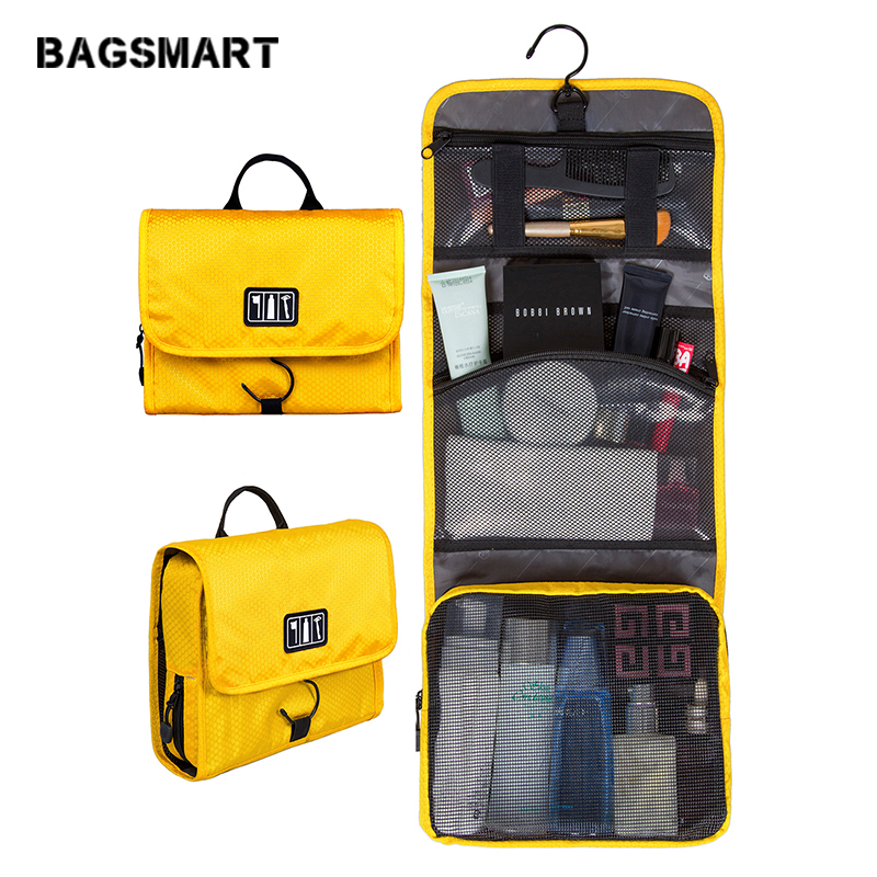 8a0b6aba9a57 US $18.36 |BAGSMART Trave Make up Bag Hanging Toiletry Bag Cosmetic Carry  On Case Folding Makeup Organizer with Breathable Mesh Pockets-in Travel ...