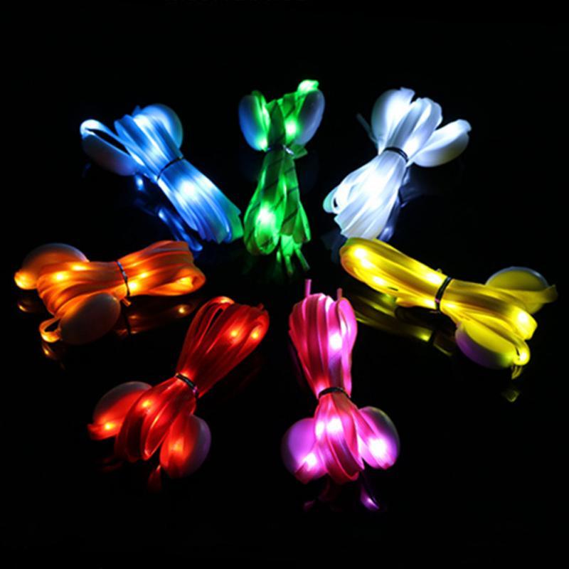 1 Pair 2019 New LED Shoelaces Luminous Flashing Shoe Laces Disco Party Light Up Glow Nylon Strap