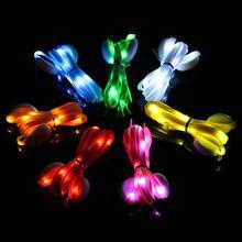 1 пара светодиодный шнурки светящиеся шнурки для обуви диско вечерние светильник светящийся нейлоновый ремешок