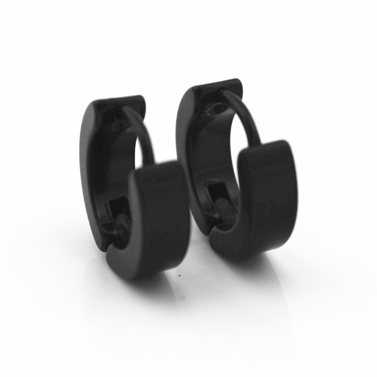 IF ME Punk Men Black Stainless Steel Hoop Piercing Round Earrings Neutral Earring For Women Men Fashion Jewelry Brincos Unisex