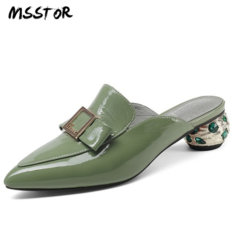 MSSTOR Metal Decoration Slippers Women Pointed Toe Green Fashion Concise Summer Shoes Crystal Strange Style Mules