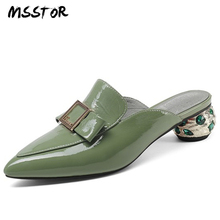 MSSTOR Metal Decoration Slippers Women Pointed Toe Green Fashion Concise Summer Shoes Crystal Strange Style Mules Shoes Women