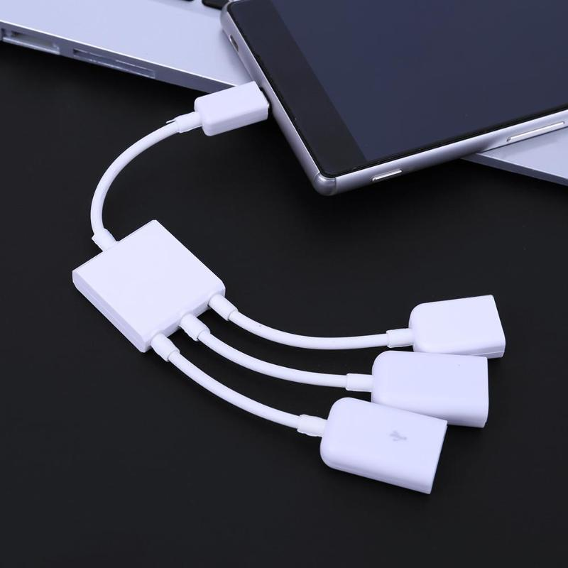 3in1 Micro USB Male To Female OTG HUB Adapter Charging Cable Data Cord Line Splitter For Pad Keyboard Mouse Tablet Computer 20cm