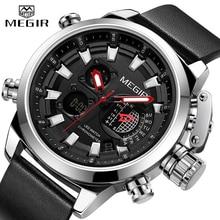 MEGIR New Watch Men Luxury Brand Analog Digital Sports Mens Watches Leather Army Military Waterproof Wristwatch 2019 Male Clock