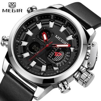 Reloj MEGIR nuevo de marca de lujo para hombre, relojes de deporte digitales analógicos para hombre, reloj de pulsera impermeable militar de cuero, reloj masculino 2019