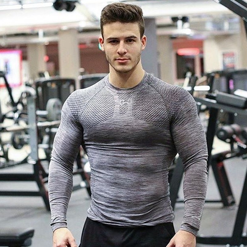 New Rashgard Sport Tshirt Running Shirt Men Fitness Training Long Sleeves Shirts Gym MMA Dry Fit Sport Shirt Man Clothes T Shirt