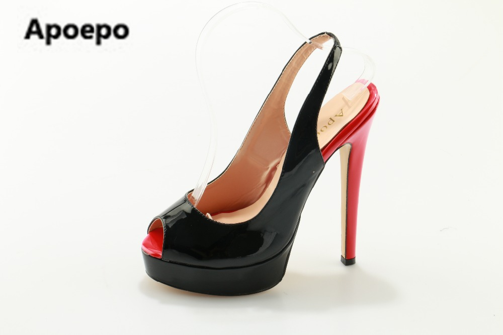 Apoepo brand 2017 zapatos mujer black and red shoes women peep toe pumps sexy high heels shoes women's platform pumps size 43