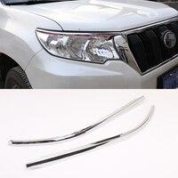 Car Accessories ABS Chrome For Toyota Prado 2018 Car Front Headlights Trim 2 pcs