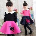 Vendas moda estilo Europeu Outono Inverno vestidos de Meninas vestir crianças Bebê grossas de algodão Crianças manga longa impressa vestido