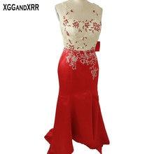 Nueva Llegada de Satén Rojo de La Sirena Vestidos de Baile 2017 Con Cuentas Scoop Crystal Illusion Volver Barrer de Tren Vestido De Festa Formales partido
