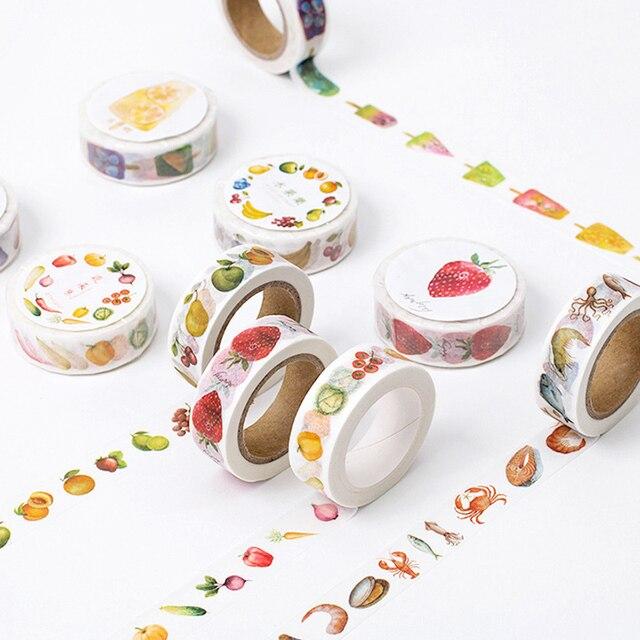8 M Alimentos Sandía Serie washi tape DIY decoración scrapbooking etiqueta autoadhesiva masking cinta adhesiva papelería planificador