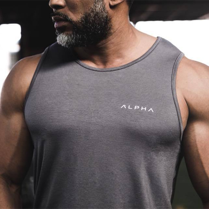 2019 New Mens Sleeveless   Tank     Tops   Summer Print ALPHA Cotton Male   Tank     Tops   gyms Clothing Bodybuilding Undershirt Fitness   tank