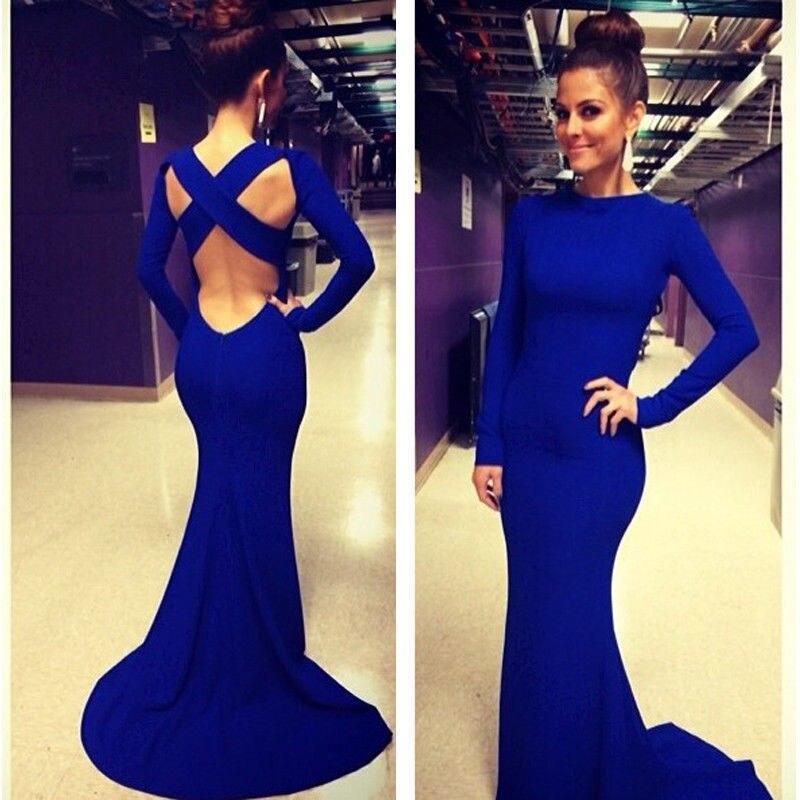 vestidos con escote en la espalda y manga larga