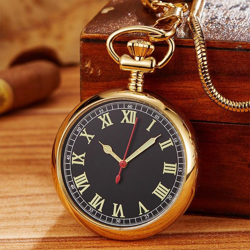 Copper Automatic Self Wind Mechanical Pocket Watch Men Women Vintage Luxury Roman Numerals Steel Fob Clock Chain Pendant Gift