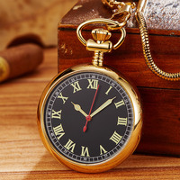 Copper Automatic Self Wind Mechanical Pocket Watch Men Women Vintage Luxury Roman Numerals Steel Fob Clock Chain Pendant Gift