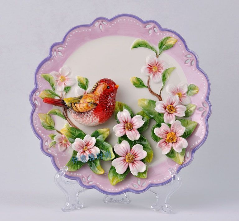 Ceramic crafts wall hanging home accessories rustic decoration plate ...