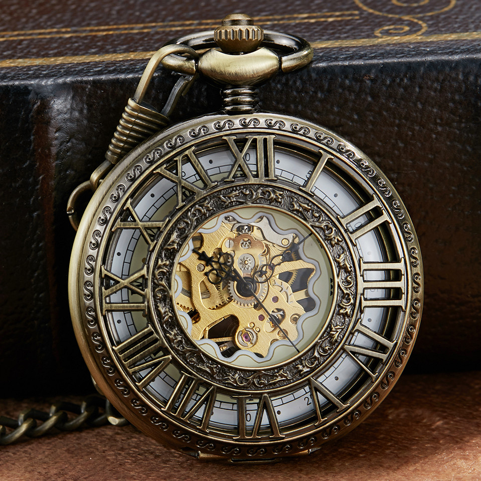 Retro Bronze Mechanical Pocket Watch With Chain Unique Roman Numerals Hollow Sculpture Hand Wind Mechanical Pocket Watches Mens