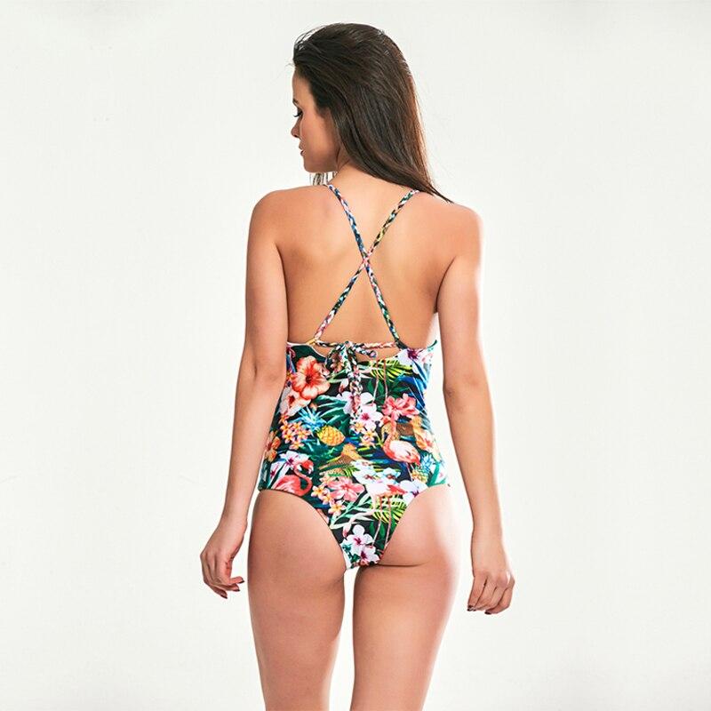 SUNCREST 2018 New Swimsuit for Women Flower Print Crochet Leotard Swimming Suit Womens One Piece Push Up Bathing Suit Monokini