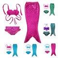 2016 fantasia infantil cola de sirena traje de baño bikini set de baño traje de baño partido del traje de cosplay dress princesa baby girls para el 3-10y