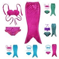 2016 Fantasia Infantil Mermaid Tail Bath Split Swimsuit Cosplay Costume Swimsuit Bikini Set Dress Princess Baby
