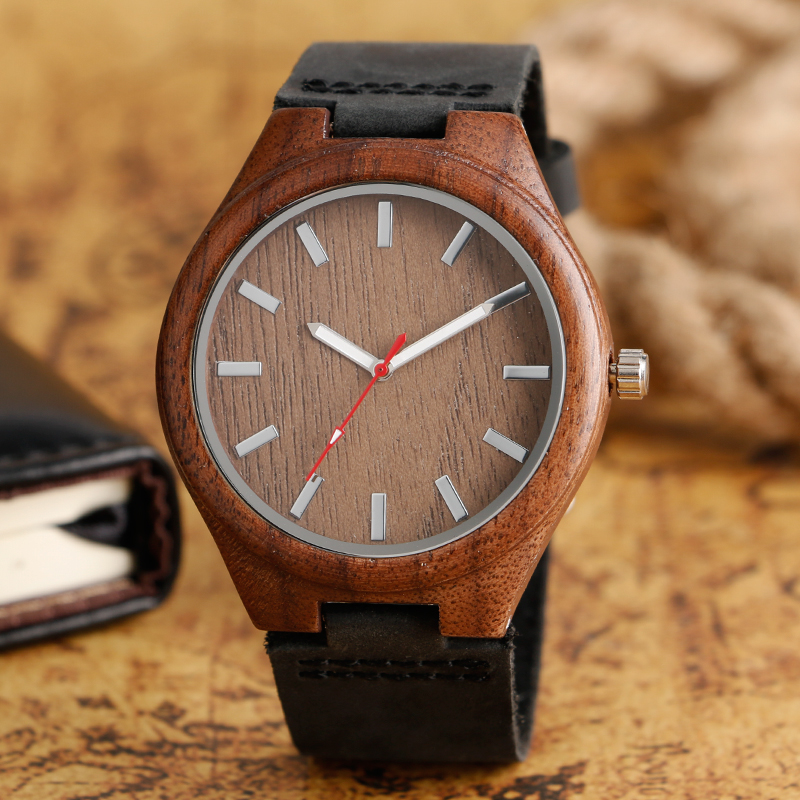 2017 Hand-made Men Watches Black Genuine Leather Red Hand Quartz Watch Natural Wood Bamboo Clock Creative Gift Item Women's fashion top gift item wood watches men s analog simple bmaboo hand made wrist watch male sports quartz watch reloj de madera