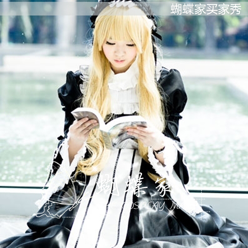 GOSICK Victorique De Blois Formal Dress Uniform Maid Outfit Cosplay Costumes Free headwear & Shipping