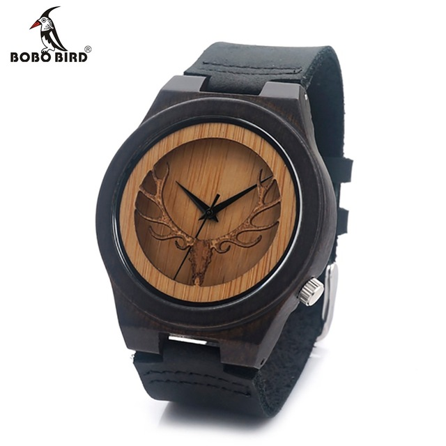 BOBO BIRD Mens Deer Head Design Buck Bamboo Wooden Watches Luxury Wooden WristWatches With Leather Quartz Watch with Gift box bobo bird v o29 top brand luxury women unique watch bamboo wooden fashion quartz watches