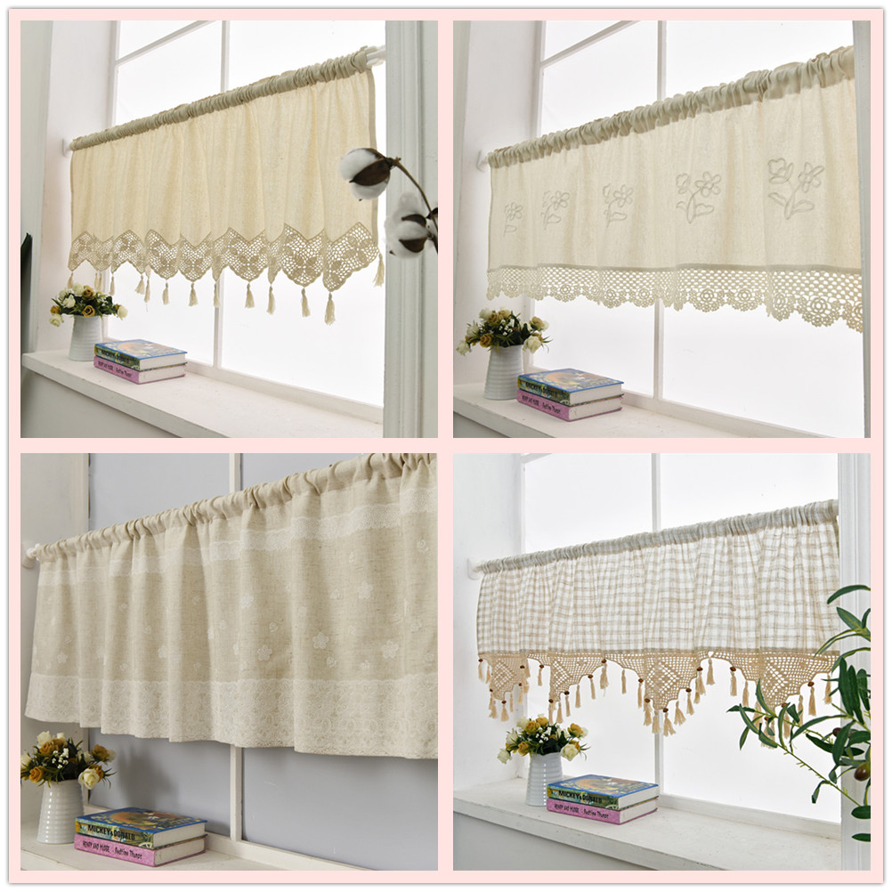 ZHH Cafe Curtain Flower Window Valance Linen Lace Handmade Embroidered Home-Decorative