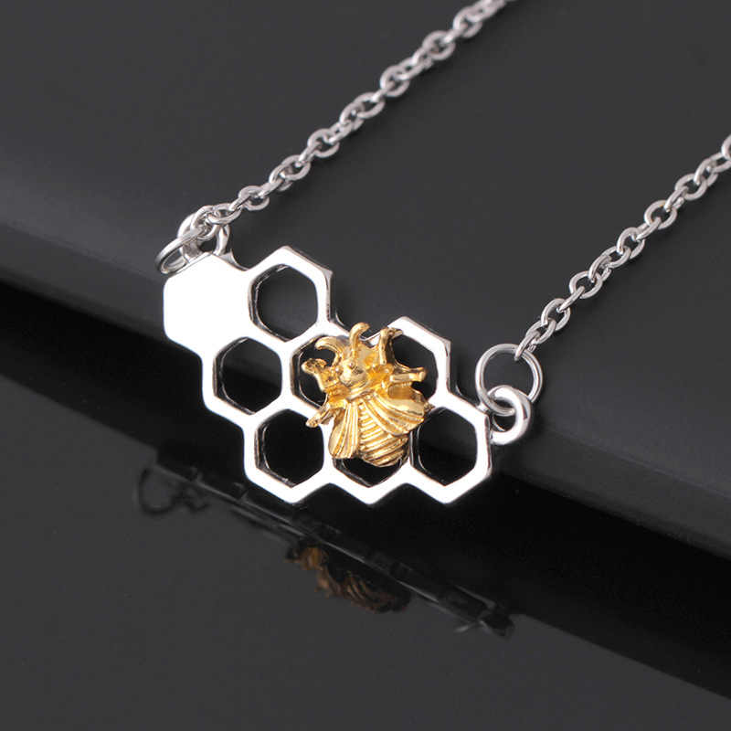 dropshipping Silver Gold Bee On The Honeycomb Necklaces & Pendants fashion animal geometric necklace Charm custom jewelery