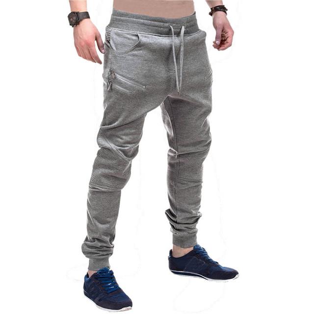 Calças dos homens 2016 Homens Casuais Basculador Sweatpants Harem Pants Men Único Bolsos Pantalones Hombre Plus Size 3 Cores