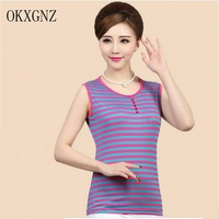 OKXGNZ Autumn Women Striped Vest 2017 New Fashion Large size Casual Short T-shirt Loose Elegant Middle-aged old T-shirt Women