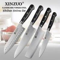 XINZUO 4pc Kitchen Knife Set 3 Layer 440C Core Clad Steel Chef Knife Santoku G10 Handle