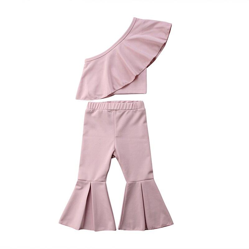 2 StÜcke Mode Kleinkind Kinder Mädchen Sommer Kleidung Schulter Kap Kragen Bluse Tops + Ausgestellte Hose Bell-bottom Outfit Kleidung Set SorgfäLtige FäRbeprozesse