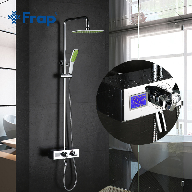 Frap Digital Shower Mixer with Display Bath Shower Faucet System Wall Mount Mixer Digital Display Shower Panel without Battary аксессуар frap f901