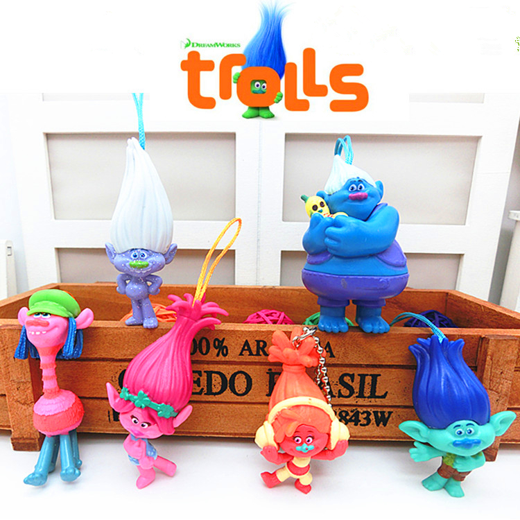 6Pcs/Set 2016 DREAMWORKS Movie Trolls Poppy DJ Suki Guy Diamond Cooper Branch Critter Skitter Boards 6cm PVC Action Figures Toys