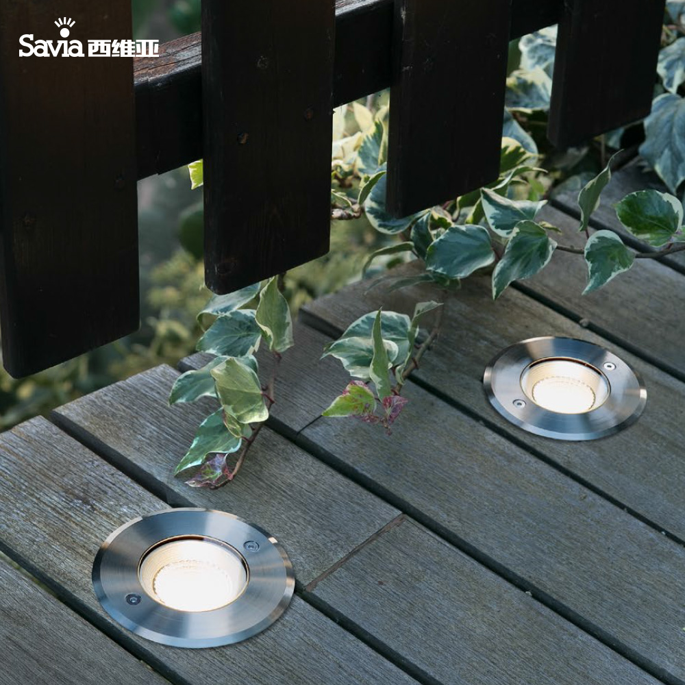 Savia 3W 12W 3000K COB LED Outdoor Recessed Lamp IP67 waterproof 316 Stainless steel aluminum and glass diffuser LED garden lamp