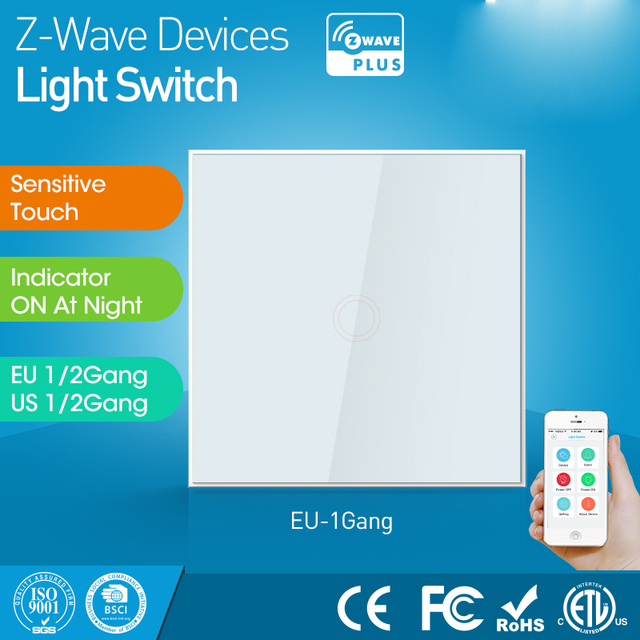 EU Version One Gang z wave Wall Light Switch Sensor Smart Home Z wave Operating mode touch sensitive