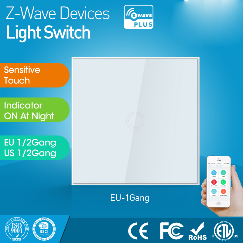 Sensor de interruptor de luz de pared z-wave versión UE One Gang Smart Home z modo operativo de onda táctil sensible