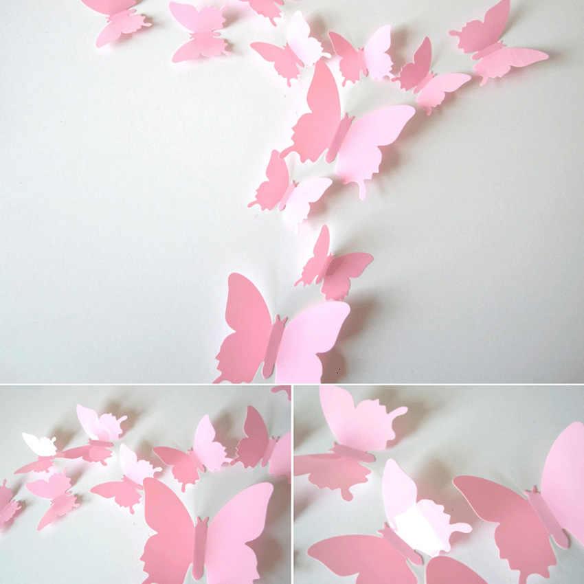 12pçs/set cartazes de parede de flores vintage, decoração 3d de banheiro, espelho de borboleta, adesivo de parede para quartos infantis