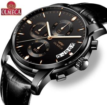 OLMECA Hot Selling Luxury Watches Men Fashion Sport Relogio Masculino Waterproof 30m Elegant Silver Watch Stainless Steel
