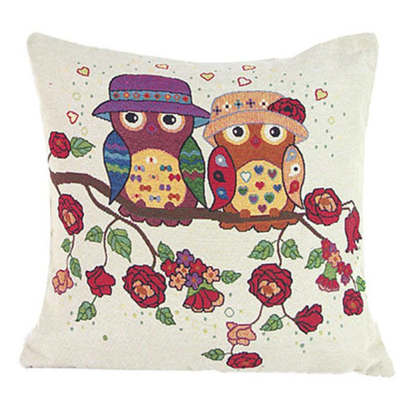 2017 Embroidery Owl pillowcase cover Cartoon Birds Knitting flower cushion pillow slip cover square cotton material on sale