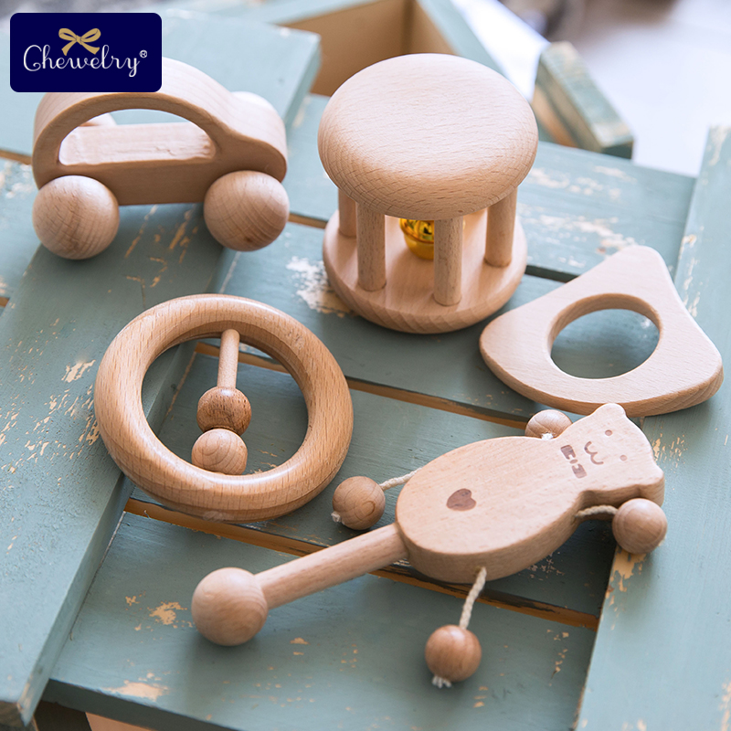 Puzzle Baby Toys Wood Teether Bell Rattles Beech Wooden Dog Car Shape Cartoon Wooden Rattle Handle Children Product Gift Toy