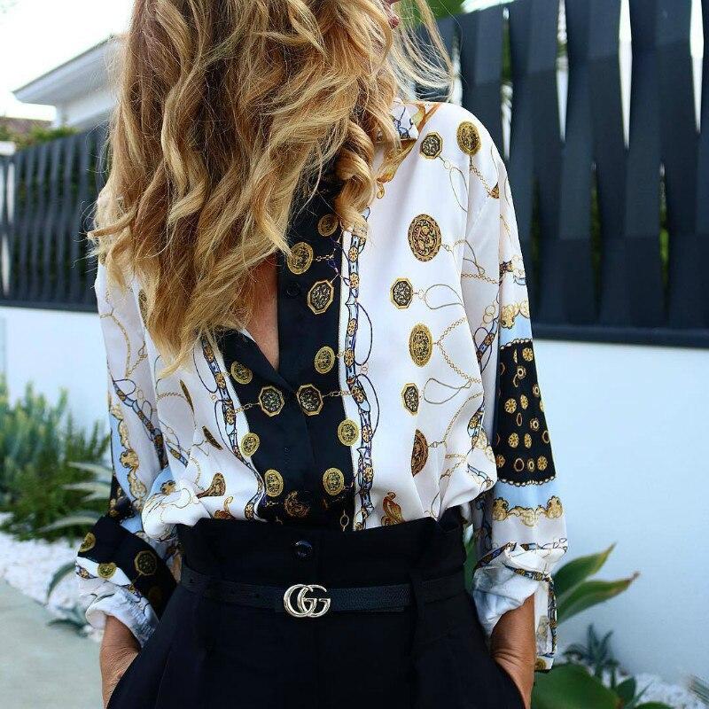 2019 Spring Women Floral Print Long Sleeve   Shirt   Office Lady Elegant   Blouse     Shirt   Turn-down Collar Button   Shirt   Streetwear