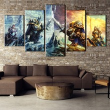 5 Pieces World of game Battle Prince Arthas Painting Canvas Wall Art Picture Home Decoration Living Room